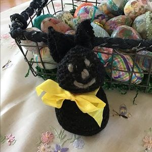 Very cute black hand knit bunny.